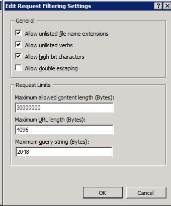 Configuring IIS Maximum Content Length