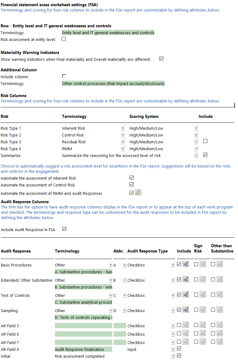 Defining the Settings for Financial Statement Areas Worksheet