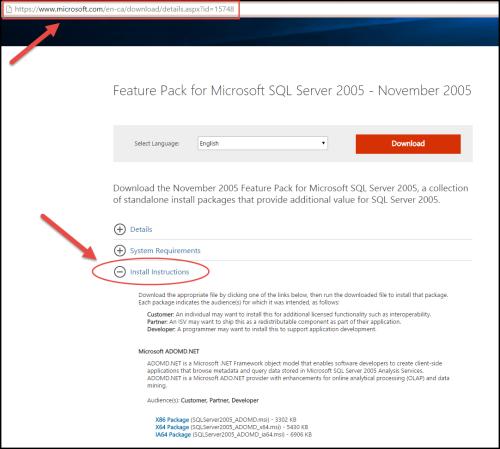 Download microsoft sql server 2005 backward compatibility components.